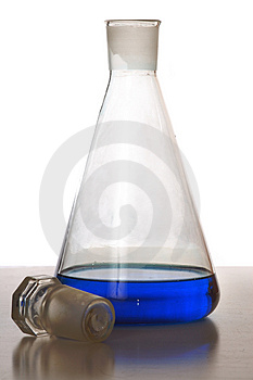 Chemical Glass With Blue Liquid Stock Photography - Image: 4367382