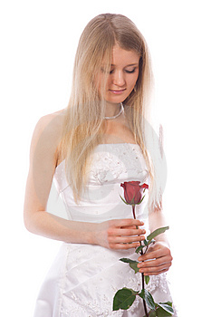 Young Sad Bride With Red Rose Stock Images - Image: 4397694