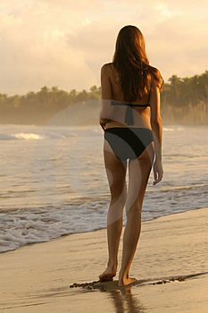 Walking On The Coastline Royalty Free Stock Images - Image: 4403089