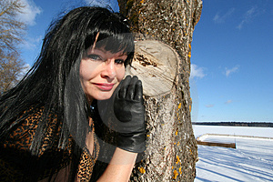 Woman Near Tree. Royalty Free Stock Photos - Image: 4422958