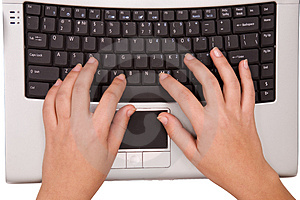 Hands On Computer Keyboard From Top Stock Photos - Image: 4423093