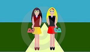Two Girls Walking Stock Images - Image: 4424974