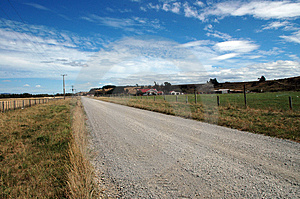 New Zealand Country Road And Farmhouse Royalty Free Stock Photos - Image: 4431018