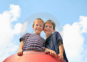 Brothers Playing Stock Photo