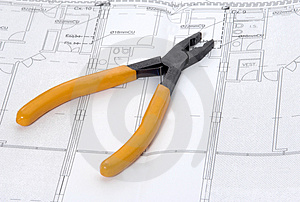 Pliers and house plan