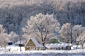 The Winter Morning In Village. Stock Photos - Image: 4441963
