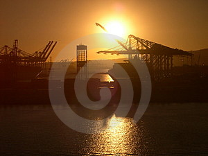 Sun Setting On Industry Stock Photo - Image: 4448430