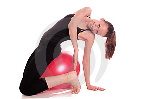 Exercise ball rollout Royalty Free Stock Photos