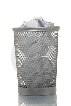 Mesh Trash Bin Full Of Paper Royalty Free Stock Photography - Image: 4453917