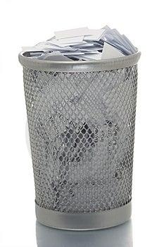 Mesh Trash Bin Full Of Paper Royalty Free Stock Photo - Image: 4453985