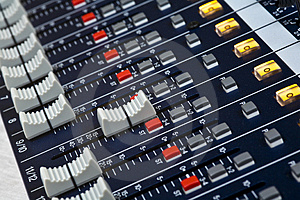 Sound mixer faders Stock Photography