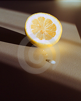 Lemon, Drops And Shadows Royalty Free Stock Image - Image: 4459586