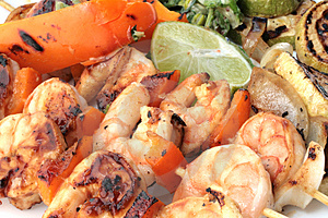 Grilled Prawns On Bamboo Sticks Royalty Free Stock Photography - Image: 4470827