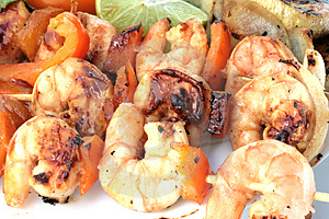 Grilled Prawns On Bamboo Sticks Served With Salad Stock Photo - Image: 4471270
