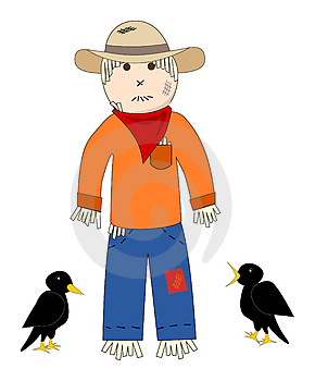 Scarecrow And Crows Royalty Free Stock Image - Image: 4472056