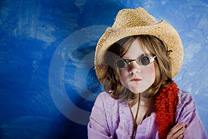 Mad Girl In A Hat And Glasses Stock Photo - Image: 4482920