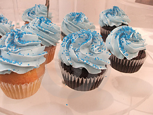 Bright Blue Cupcakes Stock Image