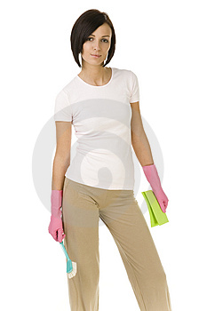 Woman ready to clean up Stock Photo