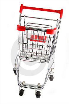 Silver shopping trolley Royalty Free Stock Photos