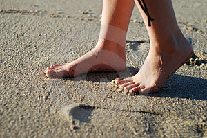 Foot On The Beach Royalty Free Stock Image - Image: 4495936