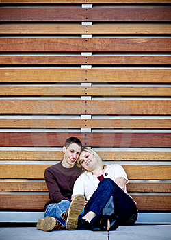 Young Couple In Slats Royalty Free Stock Image - Image: 4498626