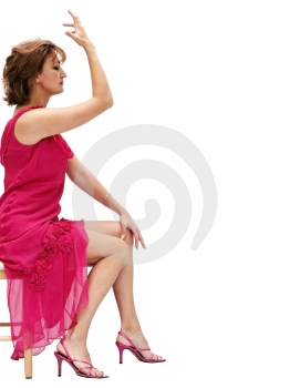 Woman in a pink dress Royalty Free Stock Image