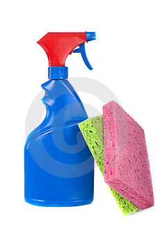 Spray Bottle and Sponges Stock Images