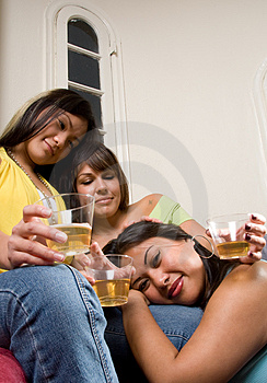 Happy drinking friends - People Series Royalty Free Stock Photography