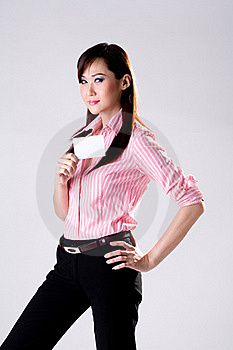 Business Woman Shows Business Card Stock Image - Image: 4517041