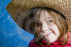 Little Girl With A Straw Hat Royalty Free Stock Images - Image: 4520489