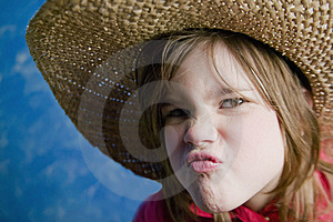 Little Girl With A Straw Hat Royalty Free Stock Photography - Image: 4527797