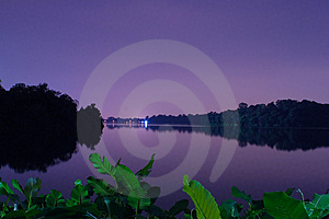 Night At Singapore Upper Seletar Reservoir Stock Photography - Image: 4533332