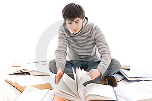 The young student isolated on a white Royalty Free Stock Photography