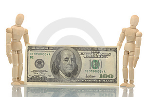 Two Manikins Holding Dollars Bill Stock Image - Image: 4535511