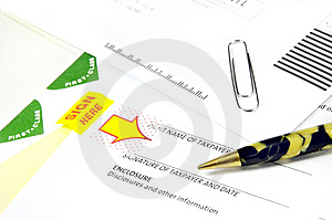 Tax Papers And Antique Pen Stock Photo - Image: 4547180