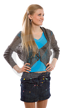 Attractive Slim Girl With Jeans Skirt Stock Images - Image: 4550074