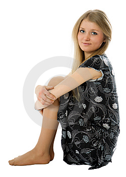 Attractive Slim Girl Sit On Floor Royalty Free Stock Image - Image: 4550086
