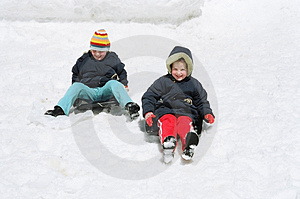 Children On Sled Stock Photo - Image: 4553640