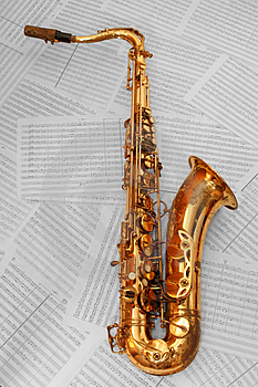 Old golden saxophone Stock Image