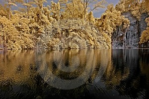 Infrared Photo – Lake, Rock, And Tree In The Par Royalty Free Stock Photo - Image: 4557945