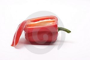 Red Bell Pepper With Side Sliced Away. Stock Images - Image: 4563114