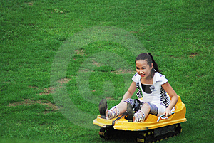 An Girl Doing Slippery Grass Movement Stock Image - Image: 4580621