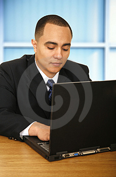 Business Man Working On Laptop 2 Stock Photo