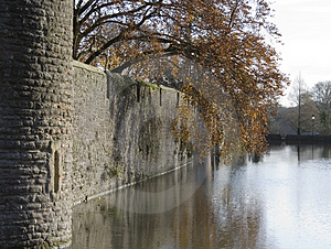 Moat And Castle Wall Royalty Free Stock Photos - Image: 464238