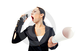 Business Woman Scream To Phone Royalty Free Stock Images - Image: 4606899
