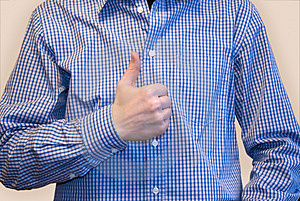 Man In Blue Shirt With Thumb Symbol Royalty Free Stock Images - Image: 4610459