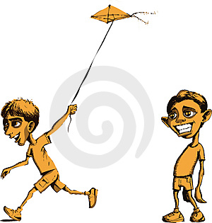 Sad Boy And Boy Flying Kite Royalty Free Stock Image - Image: 4617346