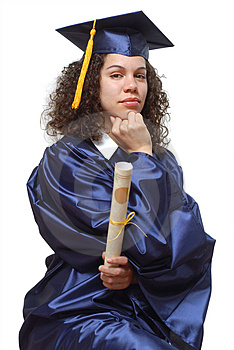 Thoughtful graduate Royalty Free Stock Photography