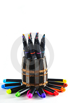 Colourful Pen And Pen Caps Stock Images - Image: 4633194