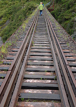 Walking On Railtrack Stock Image - Image: 4633571